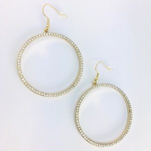 New! Rhinestones Hoop Dangle Earrings Gold